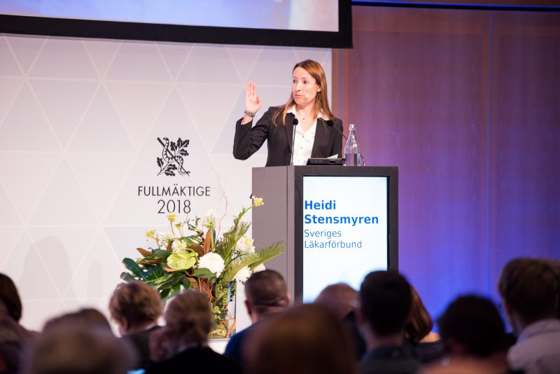 Heidi Stensmyren i talarstolen under Fullmäktige 2018