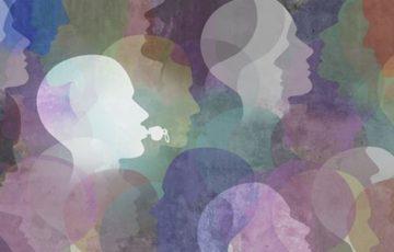 Illustration i blått, lila, grönt, vitt och gult som föreställer silhuetter av många personer varav en har en visselpipa i munnen