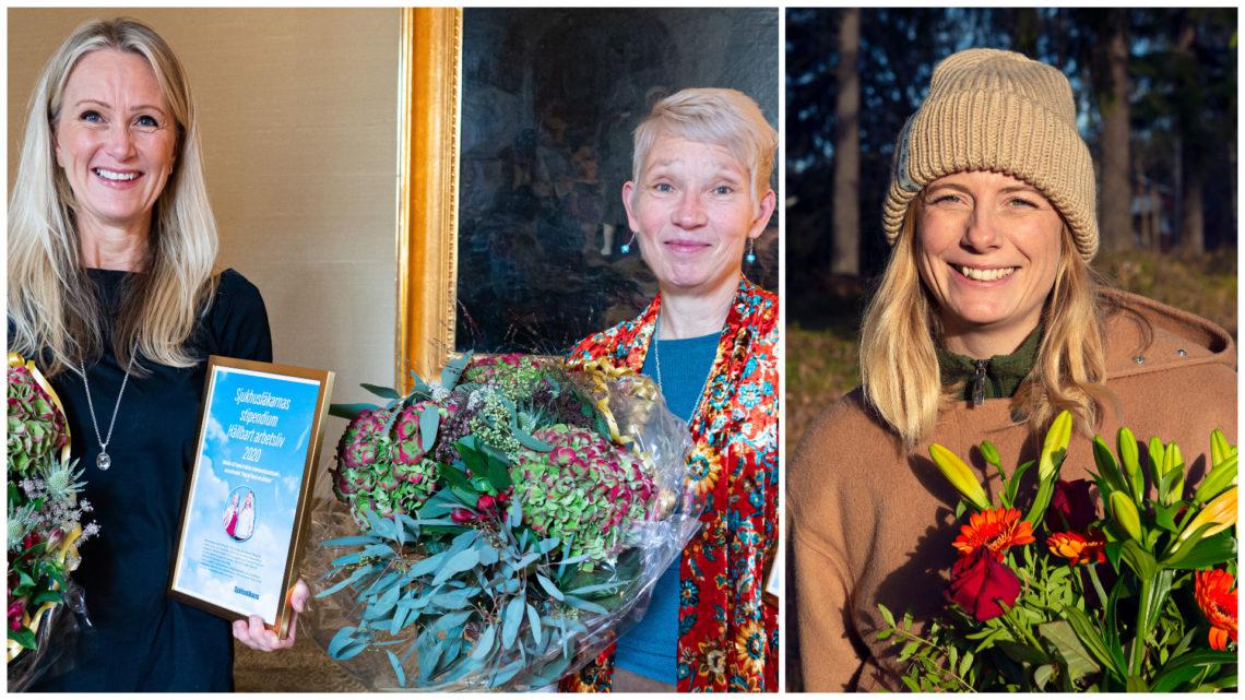 Kollagebild av tre glada kvinnor med stora blomsterbuketter och inramat diplom
