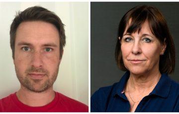 Två porträttbilder. Till vänster en brunhårig man i 40-årsåldern med röd t-shirt och till höger en brunhårig kvinna kring 55 med marinblå pike-tröja.