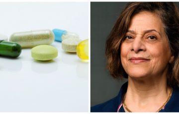 Läkemedel i pillerform i blått och grönt och en kvinna i 60-årsåldern med mörkbrunt hår