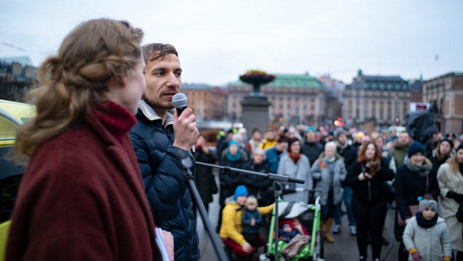 Laura Björnström och Akil Awad, initiativtagare till uppropet.