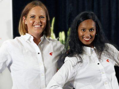 Moa Silvemar Junemar och Anna Das från FSL:s organisationskommitté.