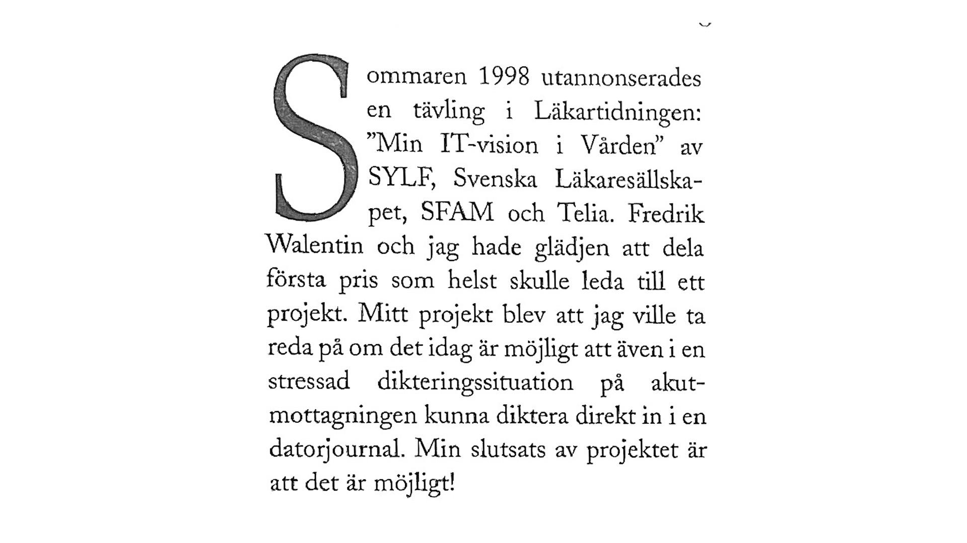 Klipp ur Moderna Läkare från 1998.